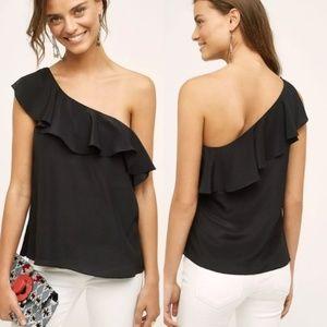 Maeve Anthropologie silk black one shoulder blouse